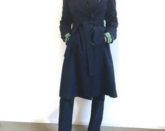 Trench anni 70 blu, impermebile anni 70 blu, trench vintage blu, trench impermeabile blue, trench spolverino taglia small, impermeabile blu