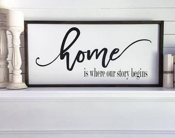 "12x24""-Home Is Where Our Story Begins,Wood Sign,Wall Decor,Farmhouse Signs,Rustic Signs,Rustic Home Decor,Wall Decor-Wood Signs,Mantel Decor"