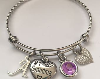 Grandma bracelet-personalized #1 Grandma stainless steel charm bangle