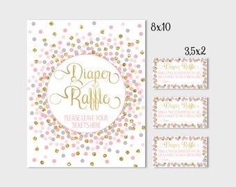 Diaper Raffle Sign And Tickets Printable Pink Gray And Gold Confetti Baby  Shower Decorations Baby Shower
