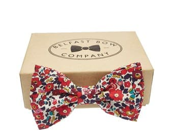 Handmade Liberty Bow Tie in Red Floral Betsy Ann - Adult & Junior sizes available