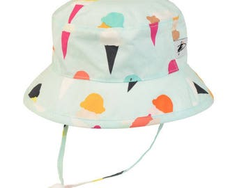 Child's Sun Protection Camp Hat - Cotton Print in Ice Cream (6 month, xxs, xs, s, m, l)