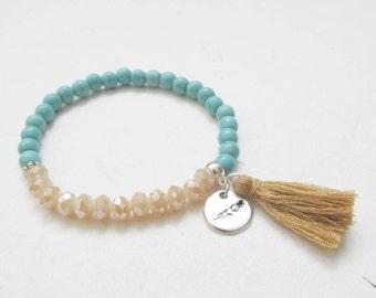 Feather bracelet, boho bracelet, turquoise bracelet, tassel bracelet