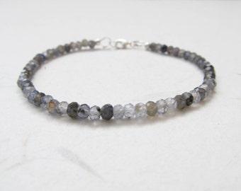 Iolite bracelet, gemstone bracelet, yoga bracelet, fine bracelet, healing crystal bracelet