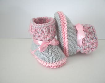 Grey hand knitted baby booties shoes 0/3 months pink and Sweet-Crystal