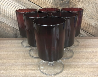 Ruby Red Wine Glasses, Set of 6