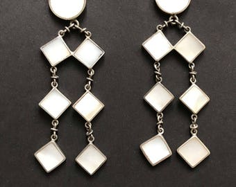 Los Castillo Vintage Mexican Silver Earrings White Mother of Pearl