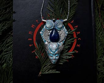 Sky Spirit Idol/ Pendant with Pyrite, Lapis lazuli and Moonstone /Crystal Pendant/Crystal Jewelry/Handmade/Unique/Pagan/Heathen/Amulet