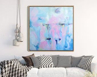 Abstract Painting, Blue Abstract Art Print, Abstract Landscape, Fine Art Print, Minimalist Art, Pink Abstract, Wall Decor, Wall Art