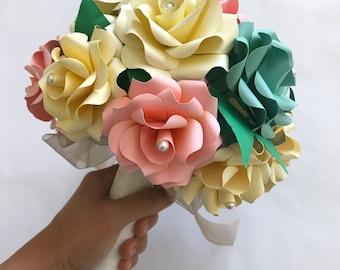 Paper Flower Bouquet, Paper Rose Bouquet, Blue Bouquet, Pink Bouquet, Mint Bouquet, Paper Bridal Bouquet, Pink Blue Wedding Bouquet