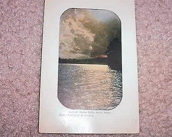 Antique Postcard Sunset, Boone Lake, STOW, MASS. Postmarked 1911
