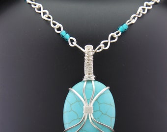 Silver Wire Wrapped Turquoise Necklace