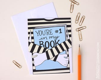 "Friendship card, Best friend card, Encouragement card, Greeting Card, ""You're #1 in my book"", A2 Bookworm greeting card"