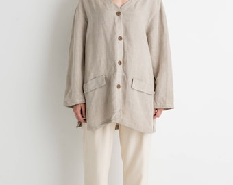 90s Taupe Oversized Linen Top XL