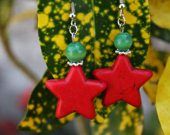 Red Howlite Star Earrings. Perfect for the Holidays!