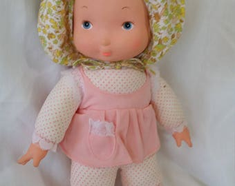 "Vintage Knickerbocker Baby Holly Hobbie Cloth & Vinyl Doll  ~ 1977 ~ Knickerbocker ~ Collectible Vinyl Doll  16"" Tall"