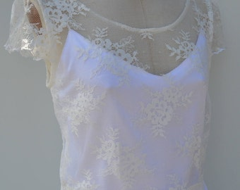 Top Bridal lace, off white Calais lace, chantilly lace top blouse ecru wedding, wedding top ecru short sleeves, top bride