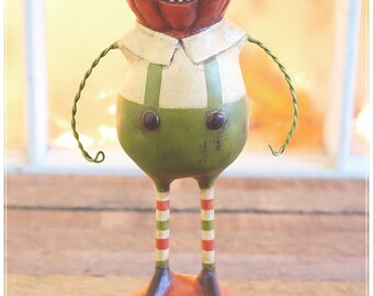 Peter Pumpkin Folk Art Figurine • Holiday Collectible • OOAK Fall Decor • Thanksgiving