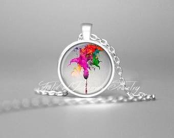 ARTIST PAINTBRUSH NECKLACE Art Teachers Gift Gifts for Artists Artist Palette Magenta Gift Artist Necklace Artist Jewelry Painters Palette