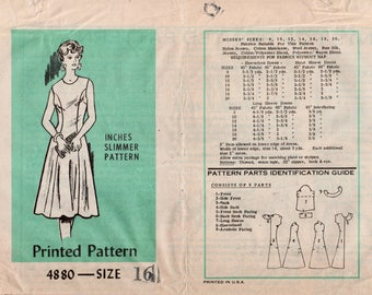 "Princess Seam Dress Inches Slimmer Dress MAIL ORDER 4880 UNCUT bust 38"" Retro Dress Pattern Sleeveless Dress Long Sleeve Dress Flared Skirt"