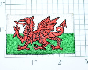 Wales Flag Iron-On Vintage Embroidered Applique Patch DIY Clothing Project Sewing Crafts Scrapbook Trip Memorabilia Welsh Pride e26b