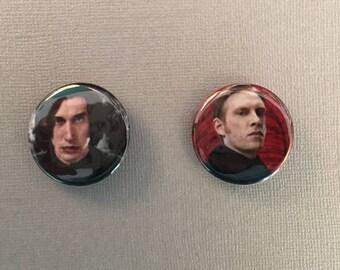 Star Wars The Last Jedi Kylo Ren / General Hux Pinback Buttons