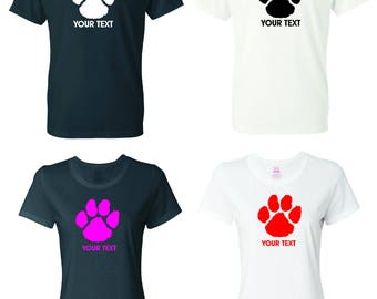 Wildcat  Paw T-shirt with custom text(optional)