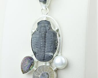 Cambrian Trilobites 925 S0LID Sterling Silver Pendant + 4MM Snake Chain & Worldwide Shipping p4144