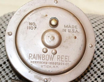 Vintage Horrocks Ibbotson Uttica N.Y. Rainbow No.1107 Reel Fly Fishing Made in USA Classic Tackle