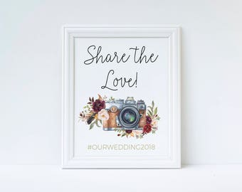 Hashtag sign, Wedding hashtag, engagement hashtag sign, wedding Hashtag Sign, instagram Wedding Sign, Oh snap sign, share the love sign