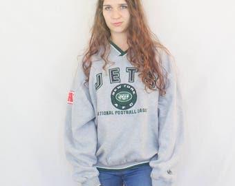 Sweatshirt Vintage 1990s New York Jets Sports Sweater