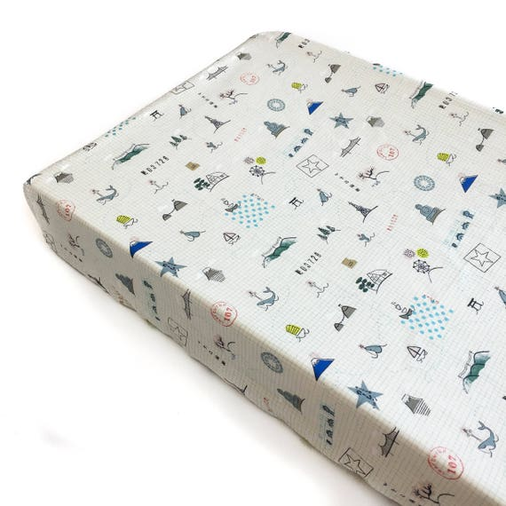 Changing Pad Cover - KUJIRA Sightseeing in Multi - READY-to-SHIP - neutral ocean changing pad, travel changing pad, travel theme nursery