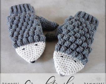 CROCHET PATTERN #006---Crochet hedgehog mittens