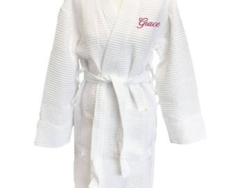 Personalised White Kimono Waffle Dressing Gowns in White, Bridal Party Bathrobes, Choose Any Text