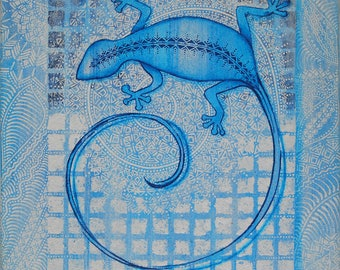 Painting Blue lizard - original painting - Blue lizard on a spiral - painting on sand - mosaic effect - Jordan lizard
