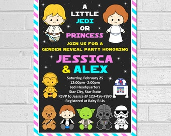 Star Wars Gender Reveal Invitation, Star Wars Gender Reveal Invite