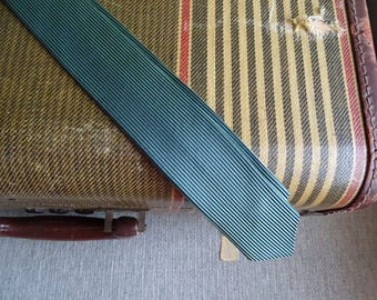 Vintage 1950's Skinny Necktie, Navy Blue & Green Stripes, Clip On Style, Mid Century Fashion, Thin Necktie, Vintage Clothing