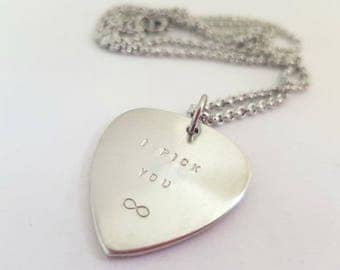 I Pick You Guitar Pick Necklace, Custom Plectrum Necklace, Guitar Pick Pendant, Custom Guitar Pick, Anniversary Gift for Boyfriends,