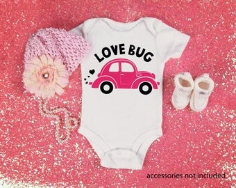 Love Bug Funny  Bodysuit or T-Shirt for Baby Toddler Kid Newborn Babies Shower Coming Home Gift Idea Creeper Present Cute Nickname VW Beetle
