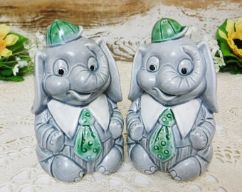 Salt & Pepper Shakers/Ceramic Salt and Pepper Shakers/Kitschy Kitchen Decor/Animal/Elephant/Gray Trunk Up/Figurine/Vintage/Japan