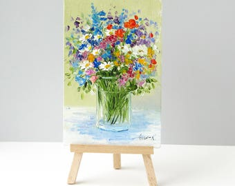 Floral art Impressionist painting Summer painting Art gifts Wildflowers art Still life painting flowers Small table art Birthday gift idea