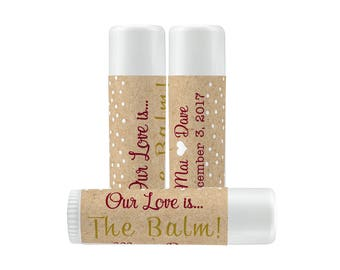 Lip Balm Labels - Personalized Lip Balm Labels - Our Love is... labels - 1 Sheet of 12 Lip Balm Labels - Custom Lip Balm Labels - Kraft