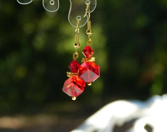 Red Swarovski Crystal cube earrings