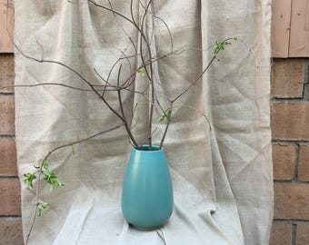 """Hand Thrown Teal Glaze Ovoid Shaped Vase in the manner California Faience  9 3/4"""" tall"""