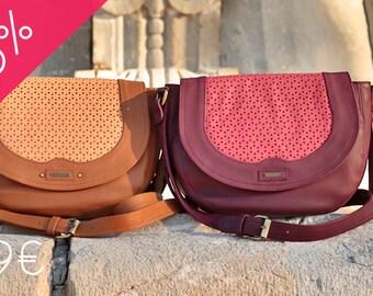 ANNA leather bag - Camel or raspberry