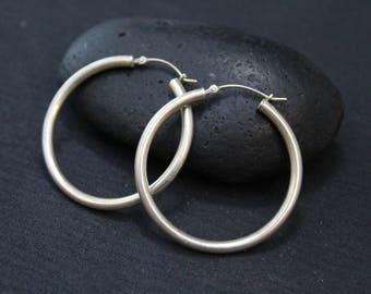 Sterling Silver Plain Round Hoop Earrings, Simple Sterling Hoop Earrings, Sterling Silver Round Hoop Earrings, Big Silver Hoop Earrings