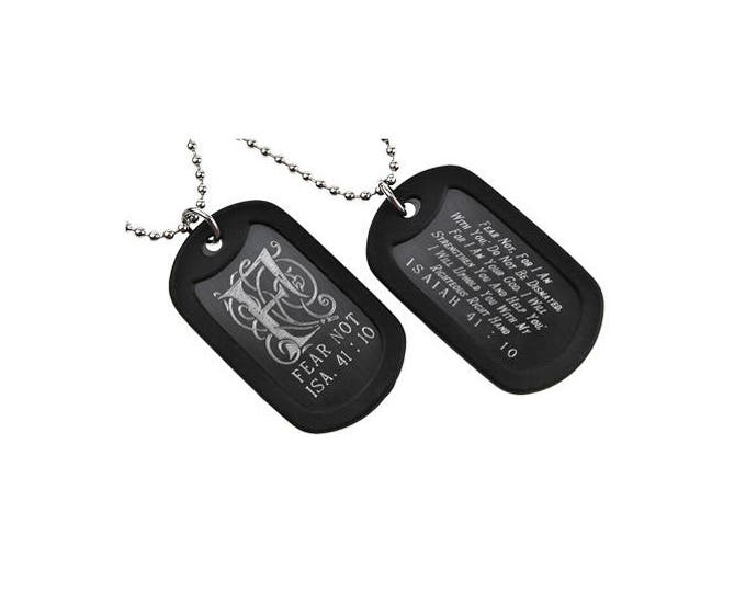 "Dog Tag ""Fear Not"" Monogram Double Sided Engraved Necklace"