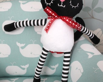 Red, White and Black Custom Made Plush Cat