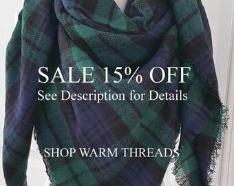 Monogrammed Scarf, Plaid Blanket Scarf, Blanket Scarf, Plaid Scarf, Gift For Her, Oversized Blanket Scarf, Plaid Scarf, Christmas Gifts
