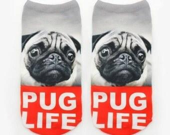 Pug Life No Show Socks